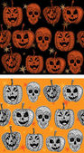 Doodle textured pumpkins seamless patterns set. — Stockvector
