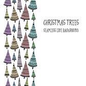 Doodle texturerat jul träd-grannlåt sömlös linje. — Stockvektor