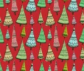 Zbiory teksturowanej tło wzór drzew bombki świąteczne. — Wektor stockowy
