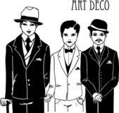 Three doodle men in art deco style. — Stock Vector