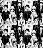 Doodle people in art deco style seamless pattern. — Stock Vector