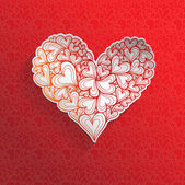 Textured paper heart o red background. — ストックベクタ