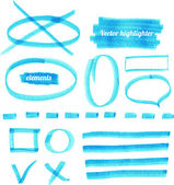 Vector blue highlighter elements. — Stock Vector