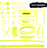 Vector yellow highlighter elements. — Stock Vector