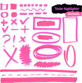 Vector pink highlighter elements. — Stockvektor