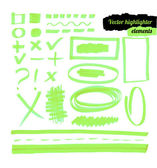 Vector green highlighter elements. — Stock Vector