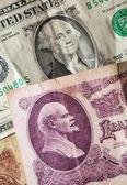 Washington en lenin op de oude rekeningen — Stockfoto
