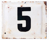 Old metal enamel plate with number five — Stok fotoğraf