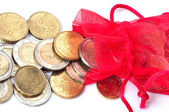 Red bag with euro coins — Stock Photo