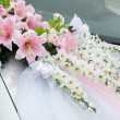 Wedding car decoration - Stock Photo