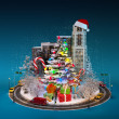 Toy town with bright Christmas tree — Stockfoto