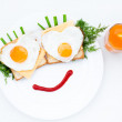 Breakfast on the plate a funny face — Stock Photo