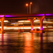 Stock Photo: MacArthur Causeway Bridge at night