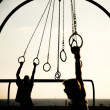Tourists swinging on rings — Stock Photo #38675539