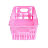 Pink plastic basket isolated on white background — 图库照片