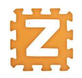 Pedaço de brinquedo de alfabeto isolado no fundo branco — Foto Stock
