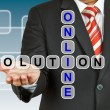 Stock Photo: Businessmwith wording Online Solution