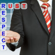 Businessmwith wording Trust and Respect — Stock Photo #18606495
