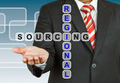 Businessman with wording Regional Sourcing — Stock Photo