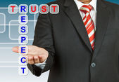 Businessman with wording Trust and Respect — Stock Photo