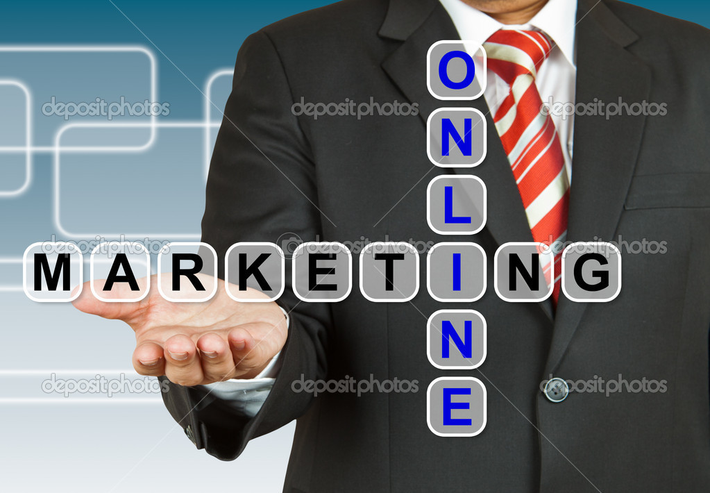 Businessman with wording Online Marketing  Stock Photo #18601595