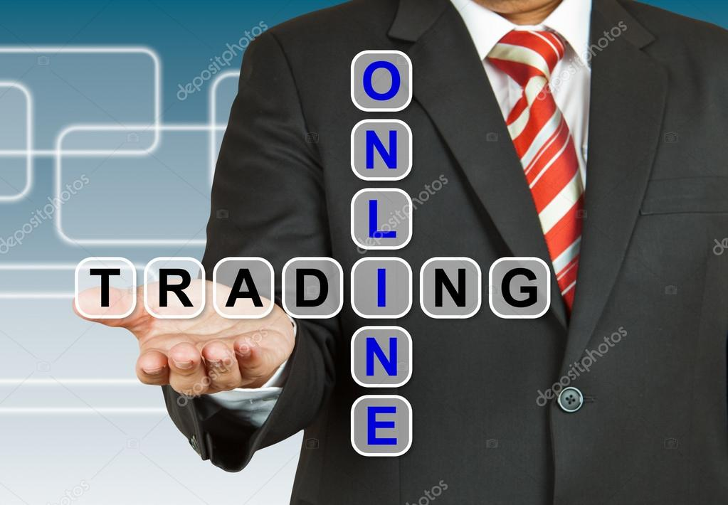 Businessman with wording Online Trading — Stock Photo #18601643