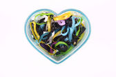 Blue Heart with Plastic Band Inside — Stock Photo