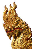 Isolated Golden Triple Naga in Thai Temple — Stock Photo