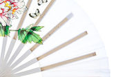 Close up oriental white chinese fan — Stock Photo