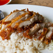 Fried Chicken with Rice in Asian Style — Stock Photo