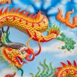 Closeup dragon on a wall in a Chinese temple — Stockfoto