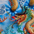 Dragon on a wall in a Chinese temple - Stock Photo