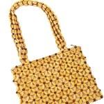 Beads handbag made from wood isolated on white background — Stock Photo #23868443