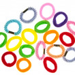Colorful hair elastic isolated on white background - Stock Photo