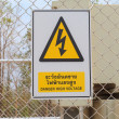 Danger High Voltage sign on a fence - Stock Photo