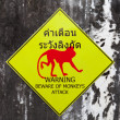 Stock Photo: Warning sign for beware of monkeys attack