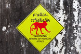 Warning sign for beware of monkeys attack — Stock Photo