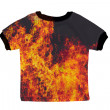Small shirt with fire isolated on white background — Stock Photo