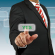Stock Photo: Businessman push Yes button
