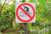 Closeup sign no bicycle pass in the garden — Stock Photo