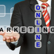 Businessman with wording Online Marketing — Stock Photo