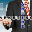 Stock Photo: Businessmwith wording Online Marketing