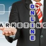 Businessman with wording Online Marketing — Stock Photo
