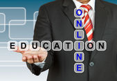 Businessman with wording Online Education — Stock Photo
