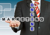 Businessman with wording Online Marketing — 图库照片