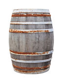 Big old wine barrel isolated on white background — Stock Photo