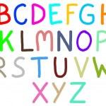 Colorful drawing of English alphabets isolated on white backgrou — Stock Photo #26152589