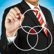 Businessman drawing intersected circle diagram and shadow the in — Stock Photo