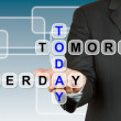 Постер, плакат: Businessman with wording Today Yesterday and Tomorrow