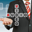 Stock Photo: Businessmhand drawing Video and Audio